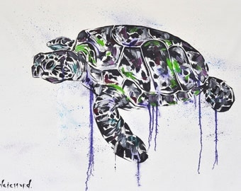 Sale (was 520AUD) Turtle Painting | Art by Aidan Weichard | Original Painting on Canvas | Abstract Animal Art |  'Ocean Turtle ' 76 x 110cm