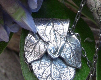 Woodland Fine Silver Necklace Made From Real Wisteria Leaves, Botannical Necklace, Artisan Necklace