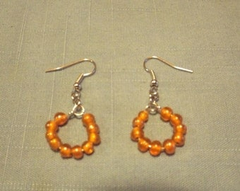 Orange Dangle Hoop Earrings