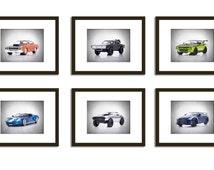 Discount Set of 6 Fast and furious cars photo print,boys room decor,kids room decor,car room decor,fast and furious,fast and furious decor