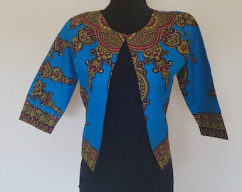 Blue/Green with Burgundy African print/Ankara Jacket