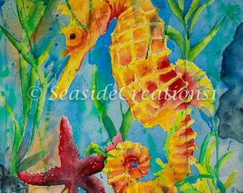 Wall Art Print of a Seahorse for a Beach Home Decor, Seahorse Art Print for a Beach House Decor, Seahorse Painting for Nautical Decor