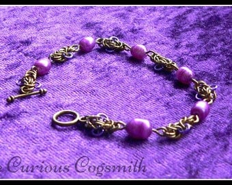 Freshwater Pearl Bracelet - Chainmail Bracelet - Chain Mail Bracelet - Purple Pearl Bracelet - Purple Bracelet