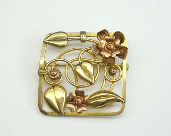 LS  Co 10Kt GF Art Nouveau Rose And Gold Tone Flower Brooch