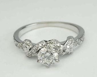 14kt White Gold Round Full Cut 0.60ct Diamond Engagement Ring