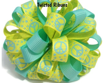 Loopy hair bow, yellow hair bow, aqua hair bow, peace sign bow, hairbow, hair accessory, boutique bow