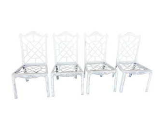 Vintage Chinese Chippendale Fretwork Aluminum Chairs