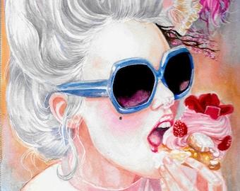 Marie Antoinette| Rococo| Original Watercolor| Home Decor| Fashion Illustration| 18th century| French Decor| Paris