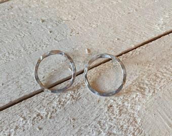 Circle Stud Earrings / Circle Post Earrings / Open Circle Stud Earrings / Sterling Silver Earrings / Minimalist Earrings