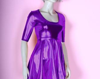 Metallic Purple Skater Dress Wet Look Baby Doll Flare Mini Spandex Foil Chrome