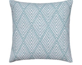 Lacefield Tahitian Stitch Decorative Pillow Cover, Modern Throw Pillow, Designer Pillow Cover, Horizon Blue Geometric Decorative Pillow Case
