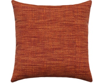 Solid Burned Red Outdoor Pillow, Orange Pillow Cover, Solid Orange Decorative Pillow, Fall Patio Accent Pillow Cover with Zippered Pillow