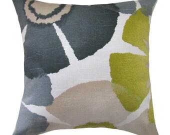 Green, Grey, Charcoal Robert Allen Pillow, Pinwheel Petals Pillow Cover, Pure Petals Collection Throw Pillow Cover, 16x16 18x18 20 x 20
