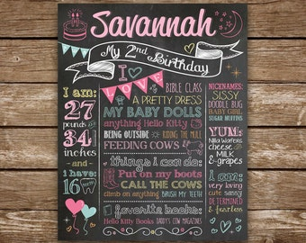 Second Birthday Chalkboard, 2nd Birthday Chalkboard, Birthday Girl, Printable Chalk Poster, 2nd Birthday Sign, Custom Colors and/or Theme
