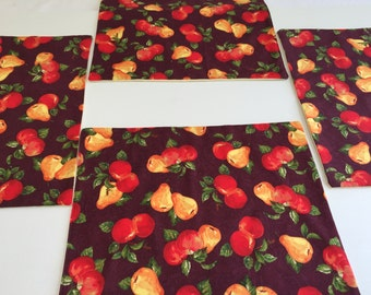 Custom Placemats, Fall Decor, Harvest Table, Place Mats, Fruit Bowl, Fall Placemats, Burgundy Placemats, Set of 4 Placemats, Cloth Placemats