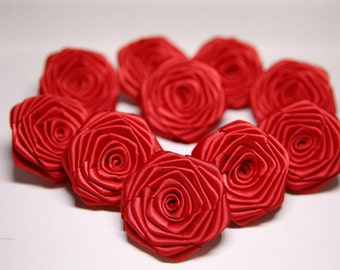 10 Handmade Red Satin Ribbon Roses In Red (2 inches). Ready To Ship.