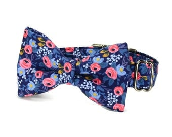 Blue Floral Bow Tie Dog Collar, Blue Floral Dog Collar, Blue Coral Dog Collar, Floral Dog Collar, Rifle Paper Co., Cotton + Steel