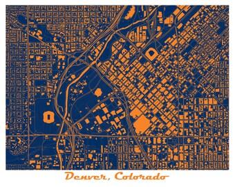 Denver Map Art Print, Colorado, Mile High Stadium, Broncos! More colors available!