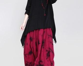 women linen blouses/women loose blouses/women leisure cloting/women spring black blouses/TZT0940