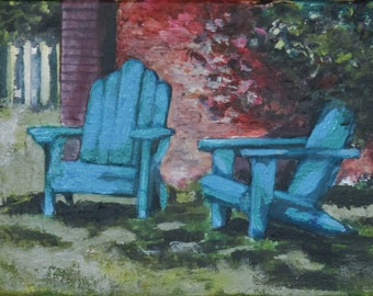 """Provincetown Painting on Canvas, Adirondack Chairs, Original, 9"""" x 12"""", Free Shipping within USA"""