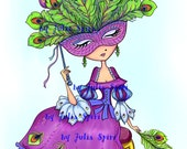 Digital Stamps, Digi stamp, Coloring page, Girl stamp, Venice stamp, Mask stamp Romantic Fantasy. The Venice Collection. The Mask of Peacock