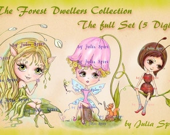 Set of 5 Digital Stamps, Coloring pages, Elf stamps, Fairy stamps, Autumn, Fantasy. The Forest Dwellers Collection