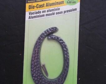 Vintage Hammered Aluminum Number -0-  NOS