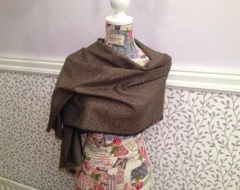 Wool Scarf Shawl - Irish Tweed - Ladies scarf - Womans - 100% wool - Soft - Brown