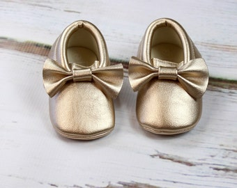 Gold Baby Moccasins | Gold Baby Moccasin w/ Bow | Gold Metallic Faux Leather Moccasins | Newborn Mocs | Gold Baby Shoes