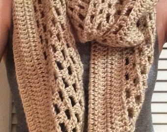 Crocheted Soft Tan Infinity Scarf, Khaki Crochet Scarf; Winter Accessory