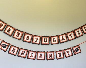 Congrats Banner, Personalized Graduation Banner, Congratulations Graduate,  Grad Banner, Custom Grad Banner, school colors