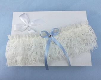 Ivory eyelash lace garter, wedding garter, lace garter, swarovski crystal garter, something blue garter