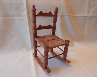 FREE SHIPPING:  Doll Chair, twine seat, rocking chair.