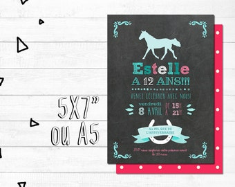 Custom birthday invitation card - file numerique_fete girl, pink and blue, horseback riding, horses, chalkboard