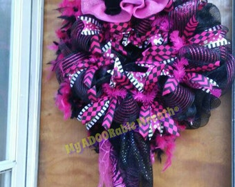 Halloween Witch Wreath, Wild Witch Hot Pink Black Wreath, Deco Mesh Whimsical Wreath, Full Body Witch Wreath, Halloween Fall Wicked Witch