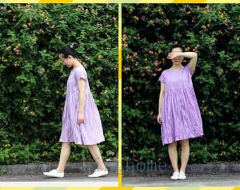 light purple loose dress  cotton  dress summer clothing dress Maxi   Plus Size Dress Maxi Dress Long Dress Party Gifts Maternity dress