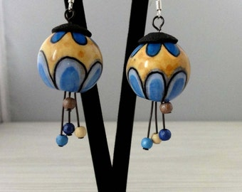 Earrings Balls  polymer clay.