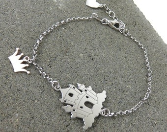 Personalised Silver Fairy Tale Castle Bracelet - Free Engraving