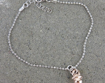 Silver & Rose Gold New Baby Mini Dummy Bracelet