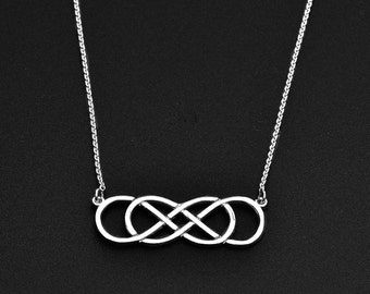 Infinity Necklace 925 Sterling Silver Dainty Necklace . Double Infinity forever Silver Jewelry . Best friend sister necklace pendant. Gift