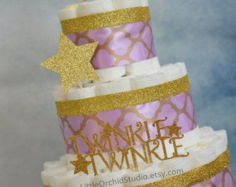 SALE!! Twinkle Twinkle Little Star/ Baby Shower/ Lavender diaper cake/ Star/ Mommy to be/ Neutral Diaper Cake/ Gifts for Baby/ Baby Girl