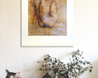Sitting woman nude in brown 16 original painting, ink and pigments on paper, large size. Contemporary Nude art