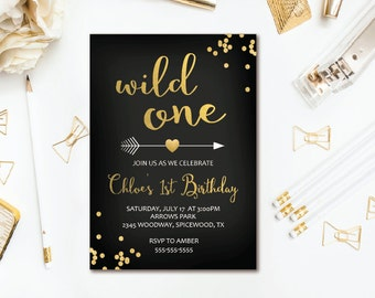 Wild One Birthday Invitation, Black & Gold Confetti Tribal, Girl 1st Birthday, Boho Printable Invites