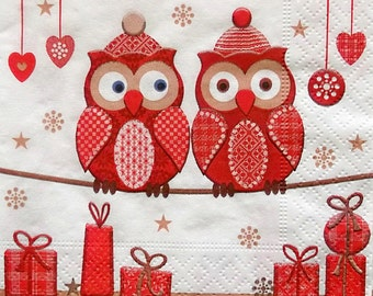 Set of 3 pcs 3-ply ''Two red owls'' beverage paper napkins for Decoupage or collectibles 25x25cm, Cocktail napkins, Servietten, Tovaglioli