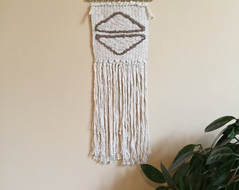 SALE//Long Neutral Hand Woven Wall Hanging / Tapestry / Weaving // Cream / Brown