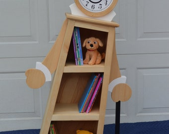 4' Leaning Clock Bookcase / Kids Bookcase / Kids Bookshelf / Clock Shelf / OOAK Bookcase / Whimsical Bookcase / Whimsical Furniture