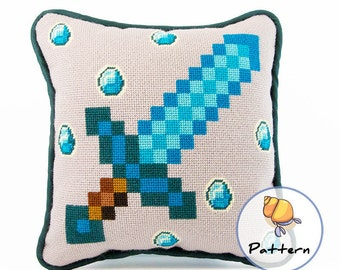 Minecraft Needlepoint Cross Stitch Pattern, Instant Download Digital File, Contemporary Modern Needlepoint, Diamond Sword Video Game Pillow