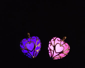 Glow in the Dark Necklace - Best Friend - Glowing Heart Necklace - Violet - Purple Necklace - Pink - Gift for Her - Anniversary Gift, Friend