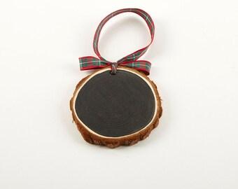 Chalkboard & Wood Slice Ornaments   Chalkboard Ornaments   Cedar Wood Slice Tags   Plaid Ribbon   Tartan Ribbon   Gift Tag