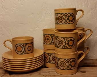 Mid Century Modern England 1970s MOD Ironstone Retro Cups and Saucers Kilncraft Staffordshire Potteries Ltd England
